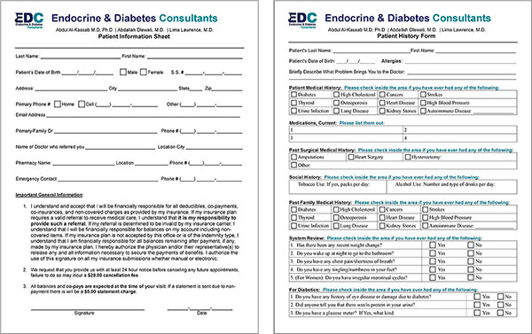 Endocrine Diabetes Consultants Patient Forms For Your First Visit